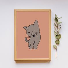 Printable Kitten Decor by OutlinedCreations on Etsy Last Minute Gifts, Free Photos, Kitten, Cute Animals, Nursery, Printables, Handmade Gifts, Etsy, Vintage