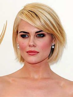 Short Haircuts for Heart Shaped Faces: Chin Length Bob with Side Swept Bangs, Rachael Taylor
