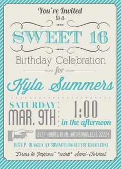 8 best 16 birthday images on pinterest sweet 16 birthday custom color printable sweet 16 invitation via etsy stopboris Gallery