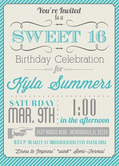 Custom Color Printable Sweet 16 Invitation. $20.00, via Etsy. #teal #vintage