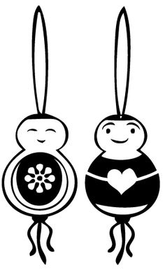 Good fortune dolls rubber stamp set by Moosmade - stempel gelukspoppetjes - set van 2 (hart-bloem).