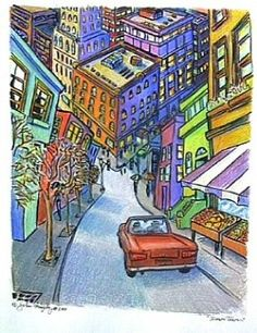 """Down Town"" ... Prismacolor and ink ... by John Murphy. Love that the name says it all - such a unique urban point of view."