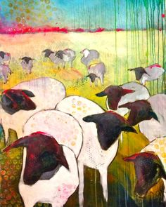ARTFINDER: 'Counting Sheep' by Roxanne Fawcett - A representational landscape of a flock of black faced sheep...with one exception...depicted in whites, golds and turquoise.