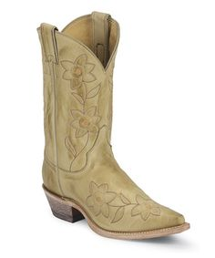 I want these bad boys! <3 Tan Bone Deertanned Cowboy Boot - Women by Justin Boots on #zulily today!