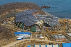 The making of the Sochi dolphinarium where the orcas will be displayed at http://www.archdaily.com/268822/in-progress-primorsky-aquarium-ojsc-primorgrajdanproekt/
