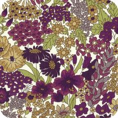 Liberty Margaret annie purple Motif Liberty, Liberty Print, Liberty Of London Fabric, Liberty Fabric, Retro Wallpaper, Pattern Wallpaper, Swatch, Green Color Schemes, Clay Design