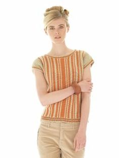 Sally - Knit this womens vertical stripe top from Rowan Knitting & Crochet Magazine 55, a design by Lisa Richardson using the gorgeous yarn Handknit...