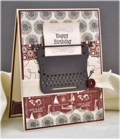 Masculine Birthday Card: Just Typed: JustRite stamps, Spellbinders dies, Carta Bella papers. Blog Post is here: http://debbiedesigns.typepad.com/muse_and_amuse/2014/07/masculine-birthday-card-just-typed.html