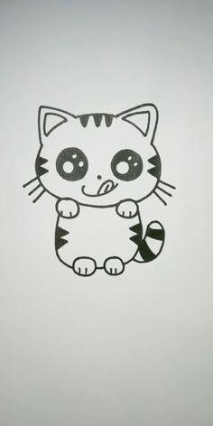 Easy Animal Drawings, Easy Cartoon Drawings, Easy Drawings For Kids, Cute Little Drawings, Art Drawings Sketches Simple, Kawaii Drawings, Cute Drawings, Easter Drawings, Halloween Drawings