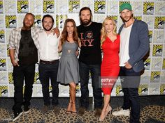 Actors Travis Fimmel and George Blagden, actress Jessalyn Gilsig, actor Clive Standen, actress Katheryn Winnick and actor Gustaf Skarsgard attend a media room for the History series 'Vikings' during Comic-Con International 2013 at the Hilton San Diego Bayfront Hotel on July 19, 2013 in San Diego, California.