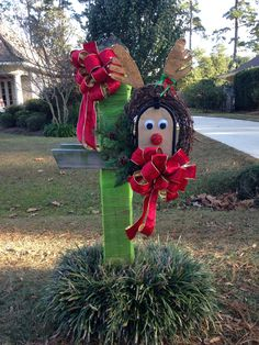 Our version of reindeer mailbox! Mom and I made this for the mailbox decorating competition!