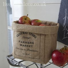 Burlap General Store Jute Storage- this can be easily made. Burlap Coffee Bags, Coffee Bean Bags, Coffee Sacks, Burlap Projects, Burlap Crafts, Small Storage, Bag Storage, Alpillera Ideas, Country Kitchen Accessories