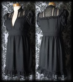 Gothic Black Lace Bib LIBERTINE Governess High Neck Dress 8 10 Victorian Vintage - £36.00