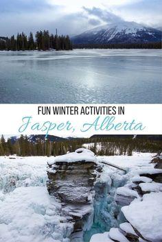 Fun winter activities to enjoy in Jasper, Alberta, Canada, including frozen waterfalls, skiing and dog sledding!