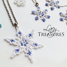Let it Snow! Handmade LACE Celtic Snowflake Necklace in Beads & Lace.  https://www.facebook.com/LacyTreasuresTatting