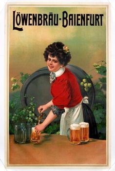 Lowenbrau Baienfurt, 1910 - original vintage poster listed on AntikBar.co.uk