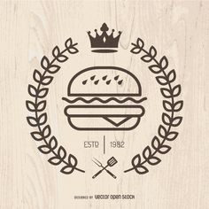 Illustrated burger logo, with crown and laurel wreath. Simple vector with wood background. Perfect for logos, emblems, pins, shirts and more! Burger Restaurant, Restaurant Menu Design, Fast Food Restaurant, Restaurant Logos, Food Logo Design, Logo Food, Bens Burgers, Burger Vector, Fast Food Logos