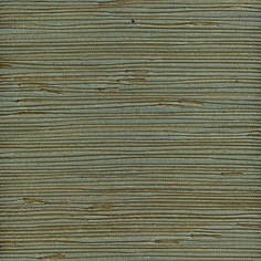 Zoomed: allen + roth Metallic Gold Teal Grass Cloth Unpasted Wallpaper