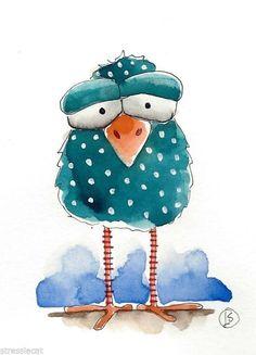ACEO Original watercolor painting Folk Art illustration Whimsical blue bird:
