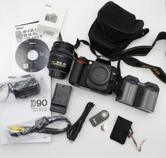 NIKON D90 CAMERA WITH LENS BATTERIES CHARGER CASE ACCESSORIES SH 2000