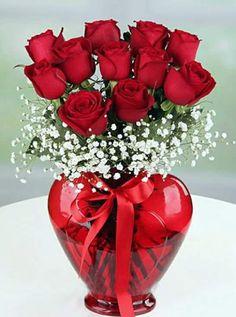 Red roses for dad Valentine Flower Arrangements, Valentines Flowers, Valentine Decorations, Valentine Desserts, Beautiful Rose Flowers, All Flowers, Exotic Flowers, Rosen Arrangements, Floral Arrangements