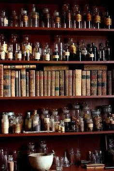apothecary-for my home, add jars and herbs and recipe books! love the look of all of these potions and vintage books. I wrap the candles in vintage books found at charity shops so would imagine we could do something cool with this for the shoot. Witch Cottage, Witch House, Cabinet Of Curiosities, Natural Curiosities, Witch Aesthetic, Kraut, Witchcraft, Wiccan Witch, Hogwarts