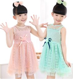 Find More Dresses Information about Pink Mint color  Summer Gauze Pure cotton Girl Bow Vest Lace Hollow dress ,High Quality lace little black dress,China lace a line wedding dresses Suppliers, Cheap lace wig new york from Leader international trade company on Aliexpress.com