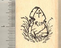 Halloween Cat on Witch's Broom Rubber Stamp by Rubberhedgehog