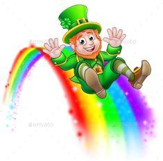 Buy St Patricks Day Leprechaun Sliding on Rainbow by Krisdog on GraphicRiver. A cute St Patricks day leprechaun cartoon character sliding on rainbow and giving a thumbs up St Patricks Day Clipart, St Patricks Day Cards, Happy St Patricks Day, Leprechaun Clipart, March Crafts, Kobold, Over The Rainbow, Graphic Design Art, Free