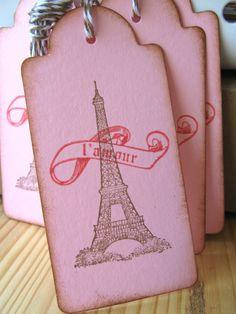 Eiffel tower Valentine tags