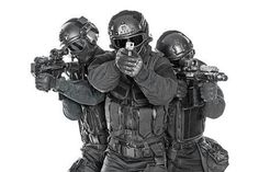 Buy swat police special forces with rifle by Getmilitaryphotos on PhotoDune. Studio shot of swat police special forces black uniforms pointing terrorists pistol automatic rifle. Tactical Helmet, Airsoft Helmet, Airsoft Guns, Military Guns, Military Art, Swat Police, Rifle Stock, Military Special Forces, Assault Rifle