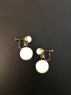 Vintage Milk Glass Double Dangle Screw Back Earrings