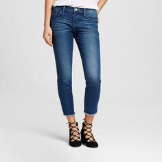 Women's Tacoma Frayed Hem Skinny Crop Jeans Delta 10 Med - Crafted by Lee, Nile