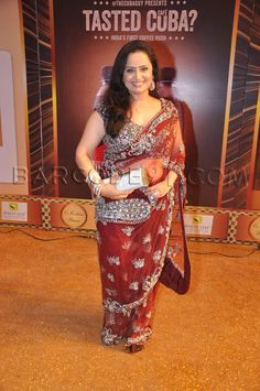 Vaishnavi Mcdonalds in a red embroidered saree at the Boroplus Gold Awards.