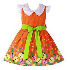 amarillo de algodón de la correa de la mariquita vestidos de princesa fiesta ropa de niños sundress de la niña.
