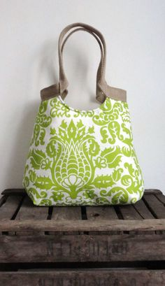 Amsterdam green screen printed carry on hobo bag by madebynanna, $65.00