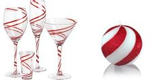 candy cane wedding glasses and candle/ candy cane