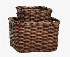 Low Square Shelf Basket in Antique Walnut Brown Basket Shelves, Baskets, British Colonial Style, Wicker Shelf, Home Office Organization, Hgtv, Rattan, Kitchen Remodel, Bathrooms