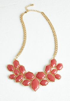 Pack a Posh Punch Necklace. Kick up your statement-making style with the refreshing berry-pink hue of this ModCloth-exclusive necklace! #red #modcloth