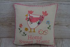 Chicken Cushion Rooster Cream  Mothers Day Gift For Home or Caravan Gift PM0008