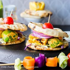 Enjoy barbecue with this made from scratch Tofu Tikka Naan-Wich. Grilled vegetarian skewers make this Indian fusion sandwiches! Puri Recipes, Tofu Recipes, Indian Food Recipes, Vegetarian Recipes, Snack Recipes, Cooking Recipes, Recipies, Indian Appetizers, Quick Appetizers
