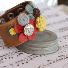 Leather cuff bracelet with felt flower bouquet by charliemadison, $30.00
