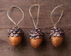 Want to try and make these, so cute!  Acorn Ornaments Pumpkin Orange Spice Rustic by smilemercantile, $23.50