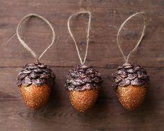 Acorn Ornaments, Pumpkin Orange Spice, Rustic Woodland Decor - Set of 3