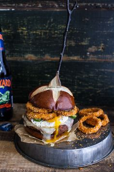 Sweet Potato Black Bean Chili Burgers w/Baked Cheddar Beer Onion Rings + Fried Egg.