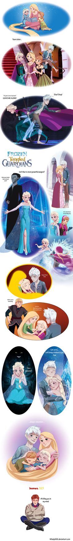 Rise of the Frozen Tangled Guardians - Jack Frost and Rapunzel w/ Elsa and Anna Crossover ~ I'm not sure what I think of this. I don't ship Jack X Rapunzel, I always thought they were cousins, but this is interesting. Haha look at Hans.