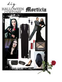 """DIY Halloween Costume - Morticia"" by shistyle ❤ liked on Polyvore featuring Dorothy Perkins, Maybelline, Rimmel, Beautiful People, morticia and diycostume"