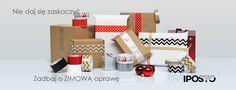 Ozdobne taśmy pakowe z kolekcji ZIMA. Dostepne wzory: chevron czarny, chevron złoty, renifery, śnieżynki i gwiazdki.