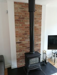 Brick Boards heat resistant insulating panels made from real brick slips - Chamber Set Options / Price List Wood Stove Wall, Corner Wood Stove, Wood Stove Surround, Wood Stove Hearth, Brick Hearth, Corner Log Burner, Fireplace Feature Wall, Brick Feature Wall, Slate Fireplace