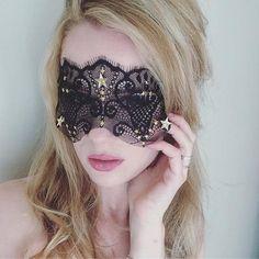 Miracle Night Black Lace Mask - New Year Masquerade Ball - Masquerade Party Mask - Black Gold Stars Mask - Unicorn Star Mask - 50 Shade Mask Masquerade Makeup, Masquerade Ball Party, Halloween Masquerade, Masquerade Wedding, Red Mask, Blue Mask, Gatsby Headband, Feather Headband, Lace Blindfold
